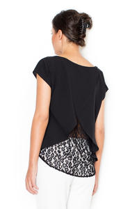 Black Short Sleeves Blouse with Lace Back