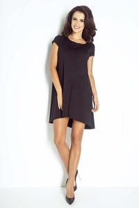 Black Short Sleeves Flared Mini Dress