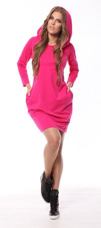 Fuchsia  Sporty Style Hooded Dress