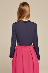 Dark Blue Chic Self Tie Bow Elegant Blouse