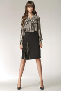 Black Striped Vendetta Collarless Appointment Formal Blouse