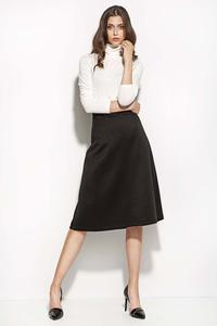 Black Textured Midi Length Seam Skirt