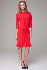 Red 3/4 Sleeves Frilled Midi Dress