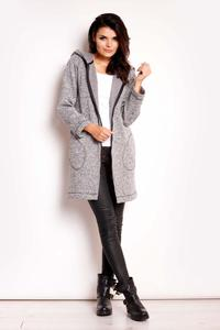 Grey Zipper Closure Hooded Coat