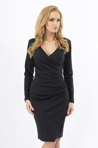 Black Wrinkled Elegant V-Neckline Dress