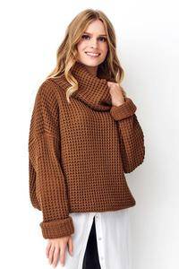 Brown Oversize Turtleneck Sweater
