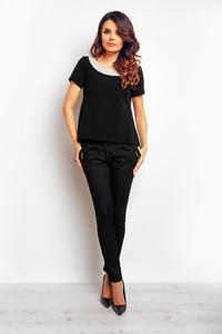 Black Dipped Hem Short Sleeves Blouse