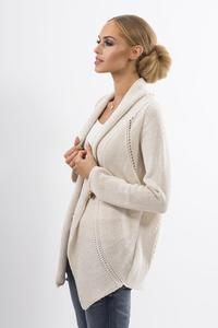 Beige Ajure Cardigan with Asymetrical Lapels