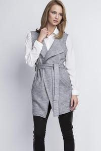 Grey Sleeveless Vest Jacket with Belt