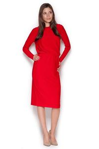 Red Back Slit Knee Length Shift Dress