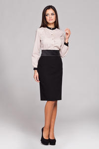 Black Knee Length Pencil Skirt with Glossy Belt