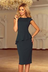 Green Peplum Dress Asymmetrical Cut