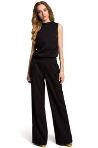 Black Collared Sleeveless Jumpsuit