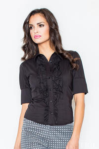 Black Vintage Collared Blouse with Ruffled Details and Wide Cuffs