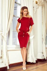 Maroon Knitted Dress with Tunnel in Waist
