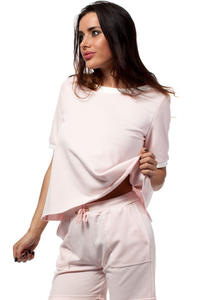 Powder Pink Cropped Blouse with Crossover Back