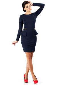 Navy Blue Seam Shift Dress with Decorative Zipper Pockets