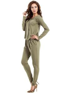 Khaki Lace-up Front Jumpsuit