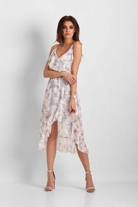 White Patterned Asymmetrical Dress With Frills
