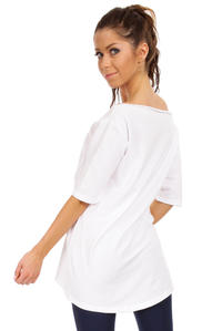 White Long T-shirt with Loose Neckline