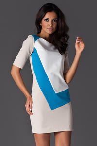 Blue Asymmetrical Color Block Shirt Dress