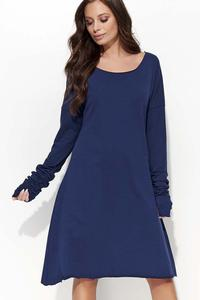 Dark Blue Flared Casual Dress