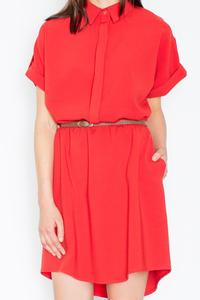 Red Shirt Dress with Rolled-up Sleeves