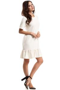 Ecru Flared Mini Dress with a Frill