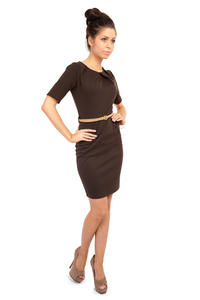 Brown Pleated Neckline Belted Shift Dress