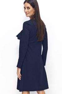 Dark Blue Flared Dress with a Frill