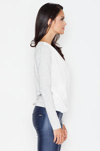 Light Grey Long Sleeves V-Neckline Blouse