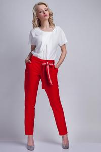 Red  Elegant Pants with Sash