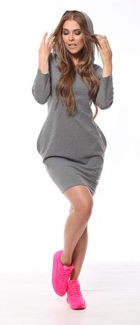 Dark Grey  Sporty Style Hooded Dress