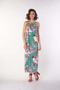 Long Summer Dress with Tied Straps - Green