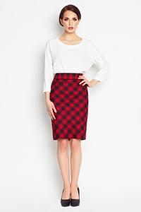 Red Pencil Plaid Pattern Skirt