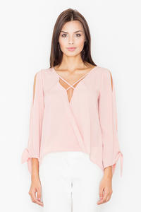 Pink Cut Out Sleeves Stylish Blouse