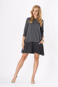 Dark Grey 3/4 Sleeves Loose Fit Dress with Pockets