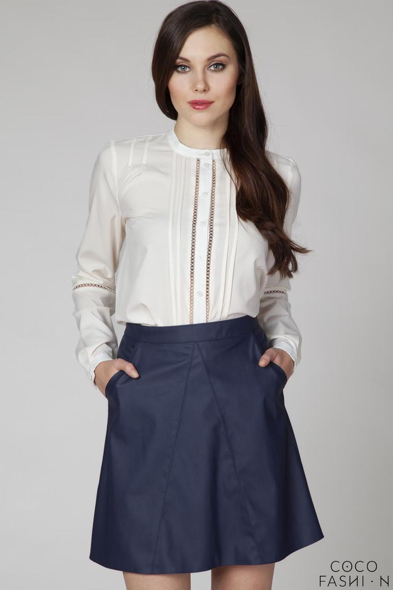 Dark Blue A-Line Skirt with Pockets