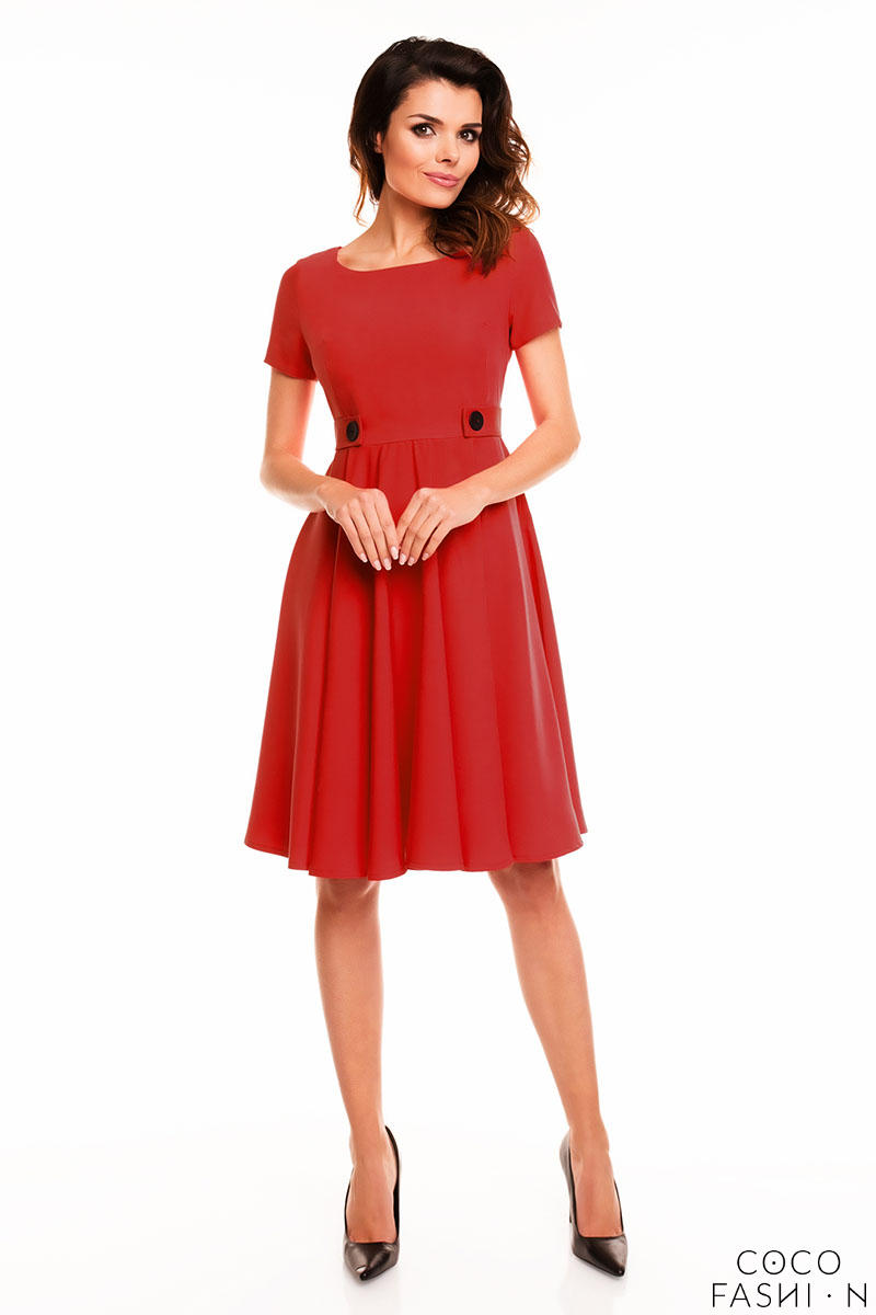 red-short-sleeves-light-pleats-dress