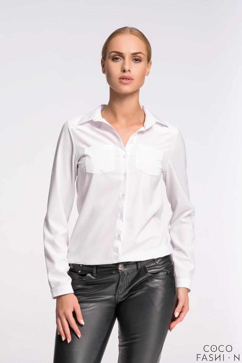 White Classic Shirt with Double Pockets