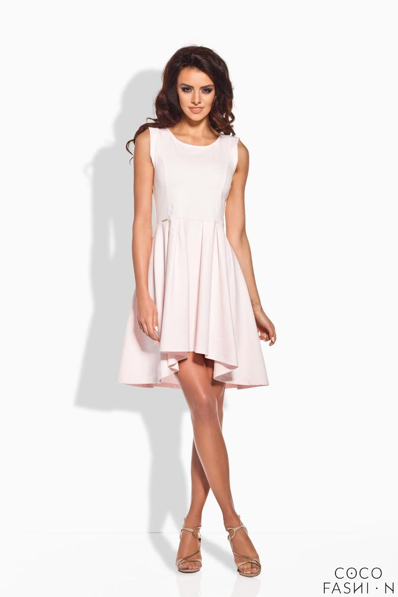 Powder Pink Dipped Hem Coctail Dress