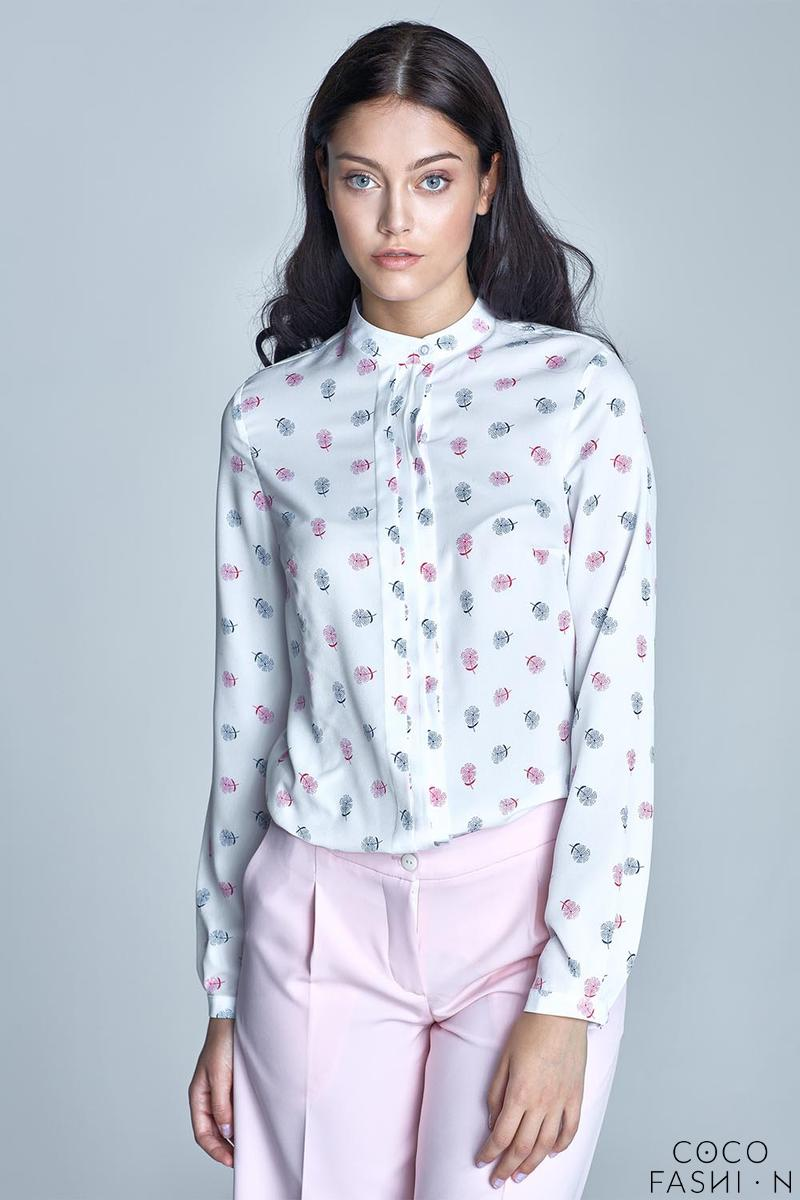 Ecru&Pink Long Sleeves Casual Shirt