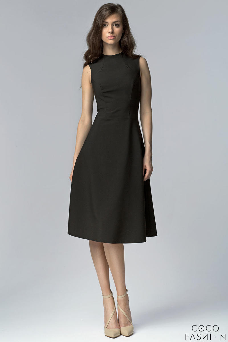 Black Seam Midi Dress with High Neckline