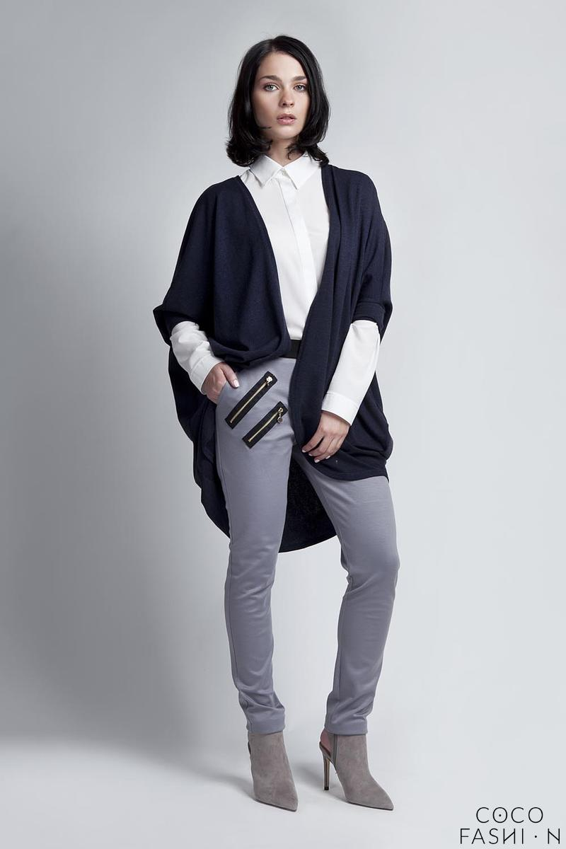 Navy Blue Bat Sleeves Loose Casual Cardigan