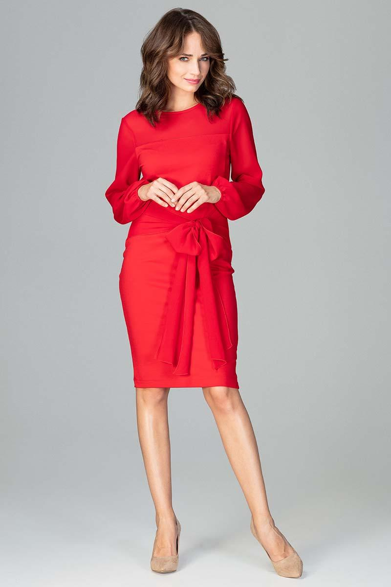 Red Midi Dress With Transparent Sleeves