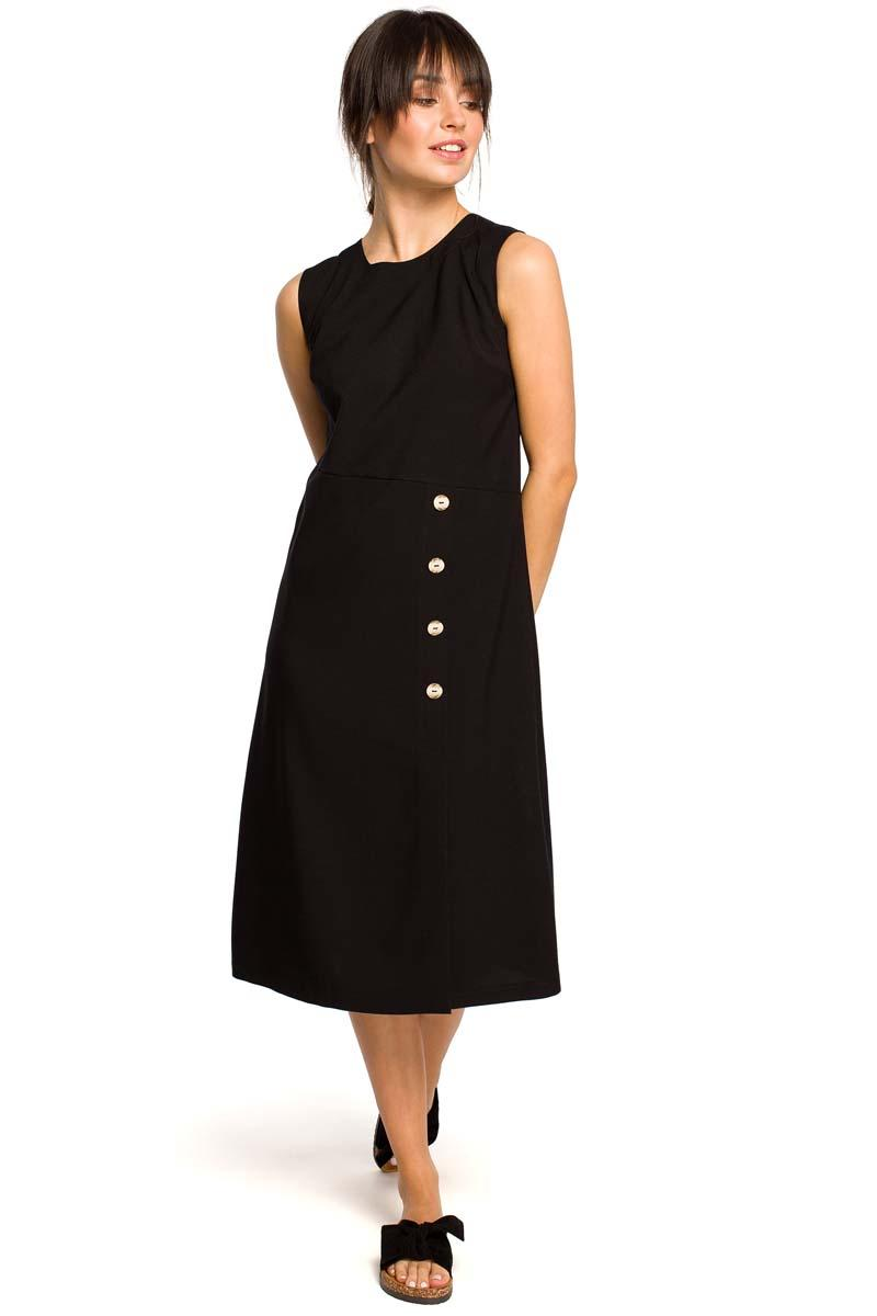 Black Trapezoidal Sleeveless Dress with Buttons