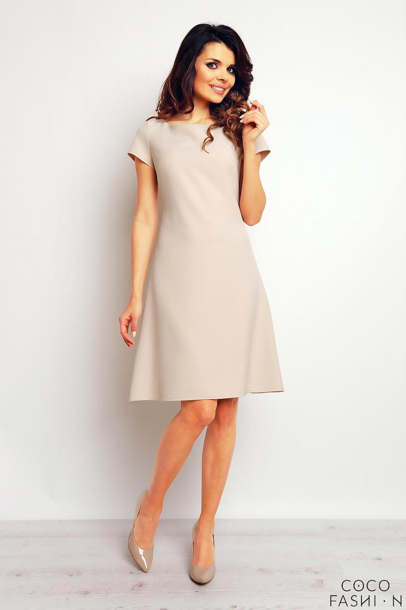 beige-flared-designe-knee-length-dress