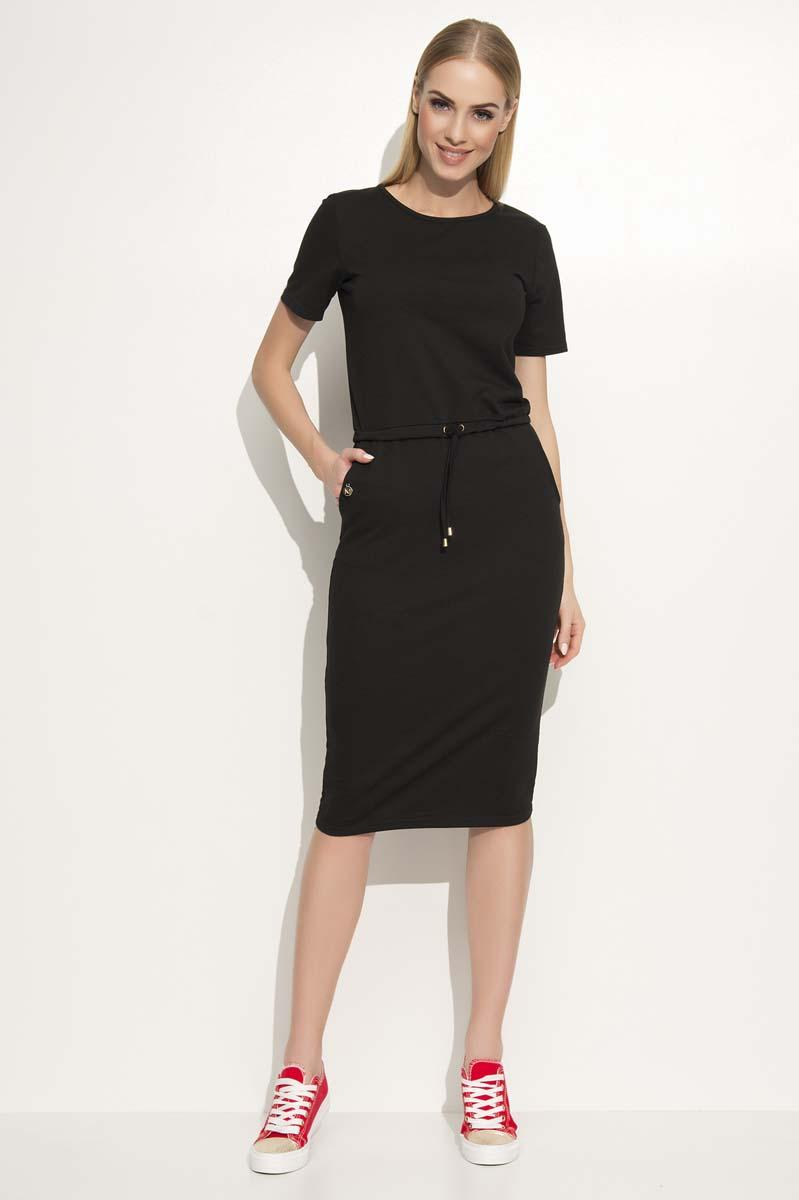 Black  Simple Casual Drawsstring Waist Dress