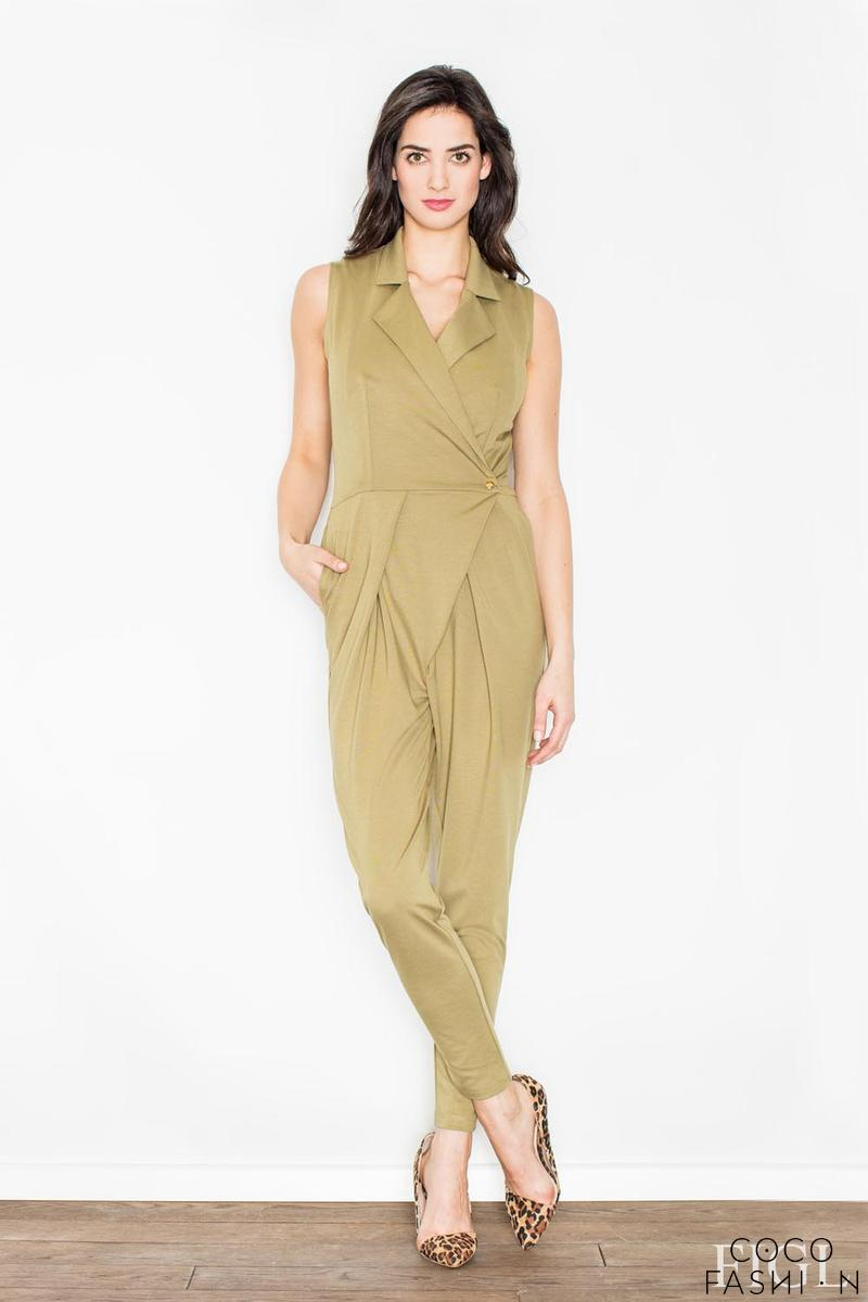 Green Wrap Design Shirt's Style Collar Ladies Jumpsuit
