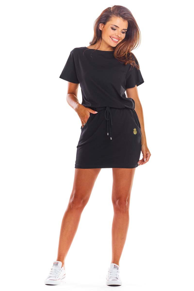 Black Comfortable Dress with Straps at the waist